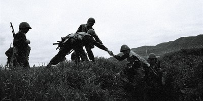 Nagorno-Karabakh Republic (NKR) soldiers from the 8th regiment are rushing out of a trench during operation on the Agdam front on the most eastern side of the front