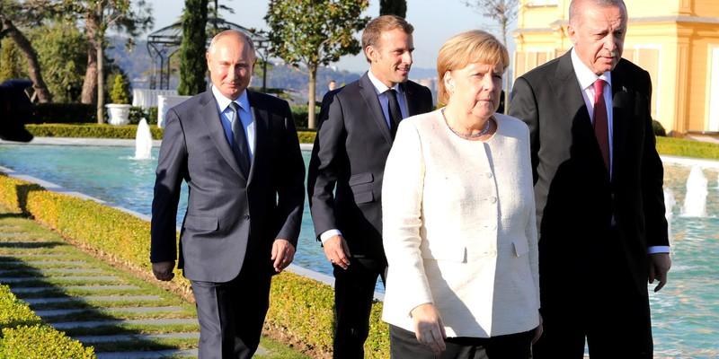 Tayyip Erdogan, Emmanuel Macron, Angela Merkel, and Vladmir Putin