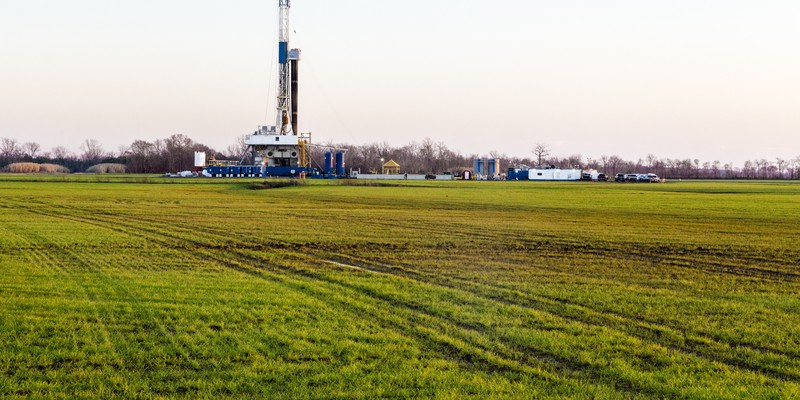 A natural gas fracking well near Shreveport, Louisiana.
