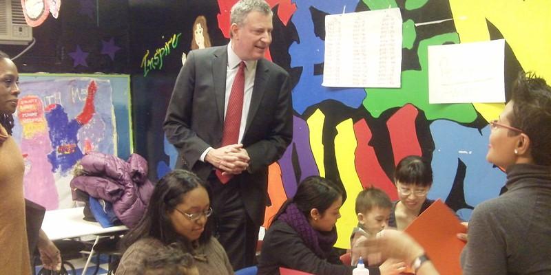 de Blasio East Harlem Kindergarten